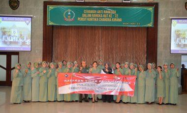 Persit KCK Korcab Rem 061/Sk Gelar Sosialisasi P4GN Jelang Peringatan HUT Ke 72 Persit KCK