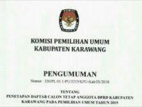 Pengumuman Daftar Caleg DPRD Kabupaten Karawang 2019